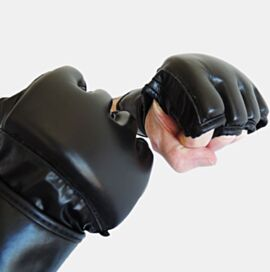 Gloves Black leather - open thumb and open palm