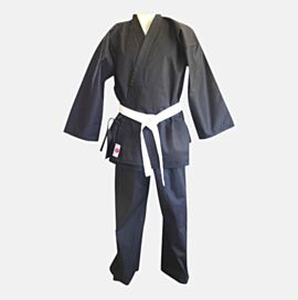 Karate Gi Black Cotton  Jacket + Black Pant + White Belt 12oz