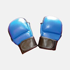 MMA Gloves made of Soft Leather in Blue Color