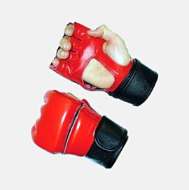 MMA Gloves Leather made of Soft Leather in Red Color